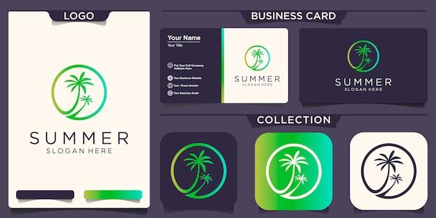 Lato drzewo palm logo ikona wektor szablon