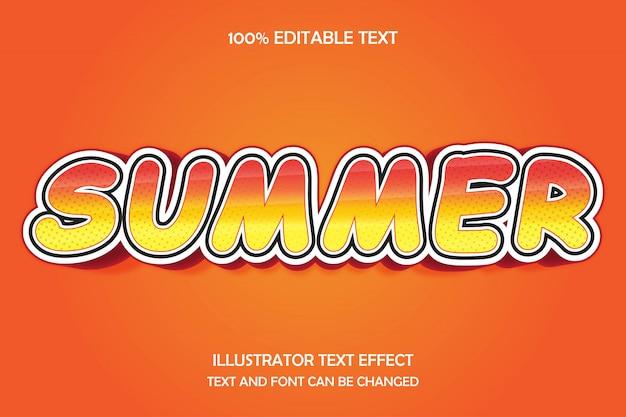 Lato, edytowalny tekst 3d efekt nowoczesnego stylu wzór cienia