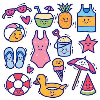 Lato kawaii doodle zbiory ilustracji