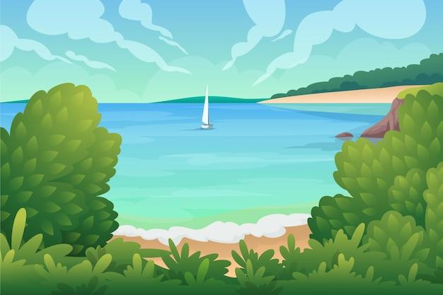 Lato krajobraz z łodzią na morzu