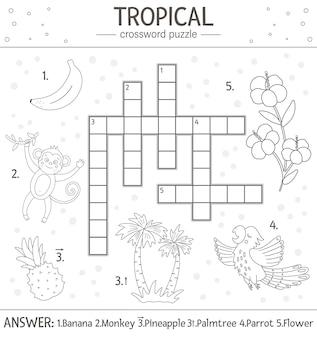 Lato krzyżówka. quiz z elementami tropikalnymi dla dzieci. aktywność edukacyjna w czarno-białej dżungli z uroczymi zabawnymi postaciami. zabawa kolorowanka dla dzieci