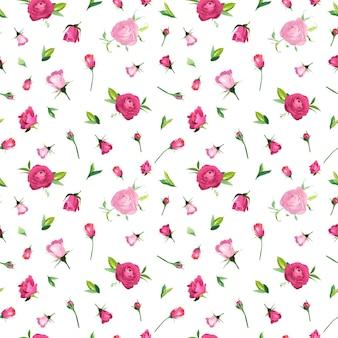 Lato kwiatowy wzór z różowymi różami. botaniczny tło z kwiatami na tkaniny tekstylne, tapety, papier pakowy i wystrój. ilustracja wektorowa