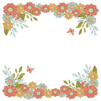 Lato kwiaty dekoracyjna ramka