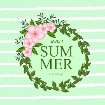 Lato kwiecista rama z tropikalnymi kwiatami i abstrakta kreskowym tłem