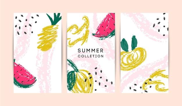 Lato memphis streszczenie wektor zestaw kart. witam letnie ilustracje do karty, ulotki, banera, plakatu, szablonu projektu mediów społecznościowych. kolorowe owoce, ananas, arbuz, liście
