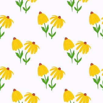 Lato na białym tle żółty słonecznik wzór doodle bez szwu.
