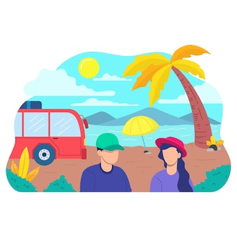 Lato na plaży płaskie wakacje wyspa palmowe niebieskie drzewo