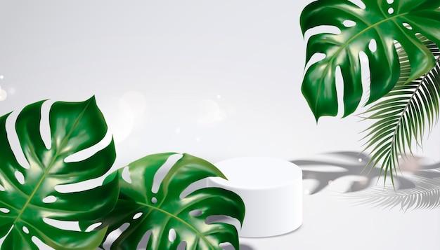 Lato na tle tropikalnych liści i cieni na jasnoszarym tle