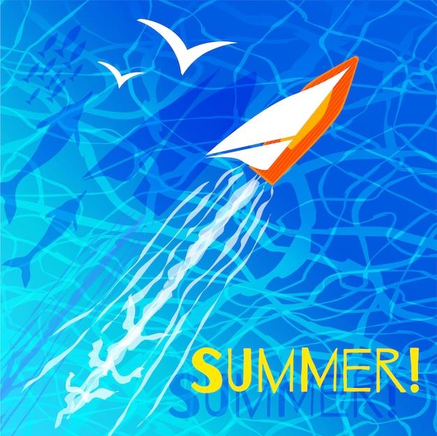 Lato, napis błękitne fale morskie