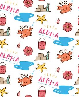 Lato o tematyce doodle bezszwowe tło