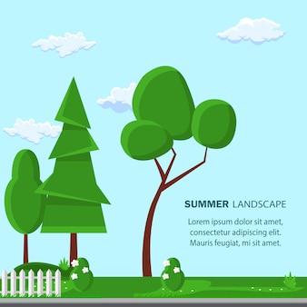 Lato pejzaż płaski transparent wektor szablon. drzewo.