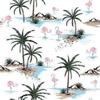 Lato Piękny Bezszwowy Wyspa Wzór Premium Wektorów