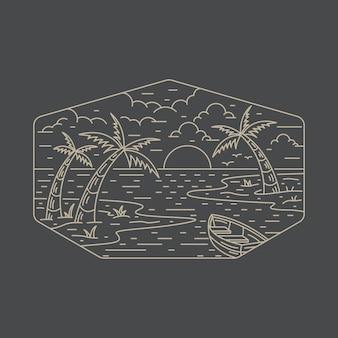 Lato plaża linia odznaka patch pin graficzny ilustracja