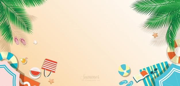 Lato plaża tło, widok z góry panoramiczny