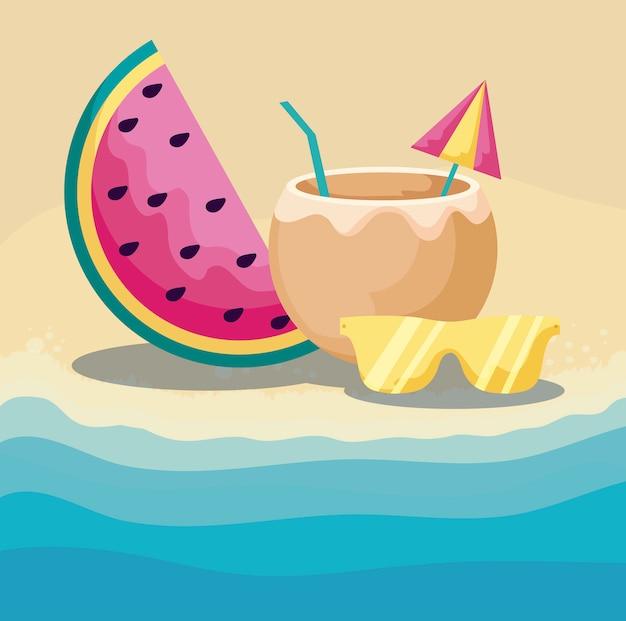 Lato plaża z arbuzem i ustalonymi ikonami