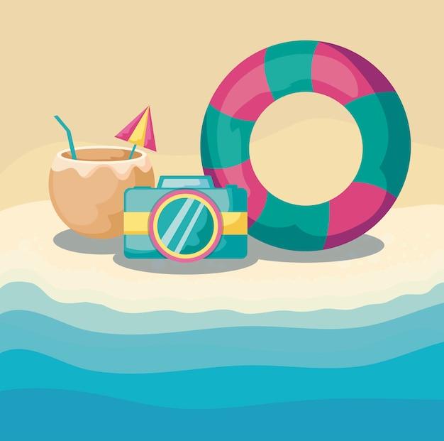 Lato plaża z pływakiem z ustalonymi ikonami