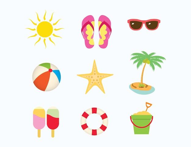 Lato plażowej inkasowej ikony ustalona wektorowa ilustracja. projekt plaż wakacje wakacje
