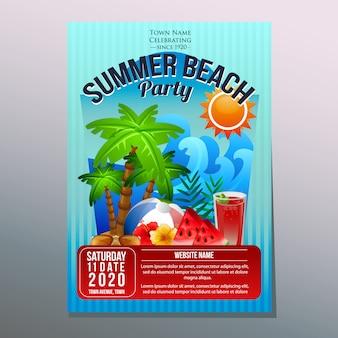 Lato plaży przyjęcia festiwalu wakacyjnego plakatowego szablonu kokosowy drzewo