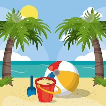 Lato plaży wakacji wiadra piaska piłki łopaty palm słońca wizerunek