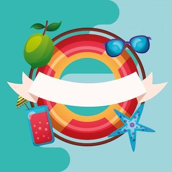Lato pływak z ikona wektor zestaw projektu