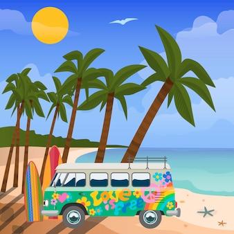 Lato podróż w zwrotnika wektorze, ilustracja. widok na morze w lecie ze sprzętem do zabawy w wodzie, plażą, tropikalnymi palmami i kolorowym pomalowanym autobusem. błękitne morze i letnie wakacje.