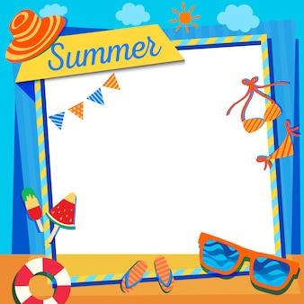 Lato-ramka-niebiesko-pomarańczowy