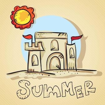 Lato scena piasek kasztel z słońcem