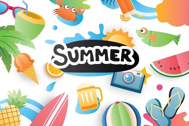 Lato słodkie elementy ikony symbol