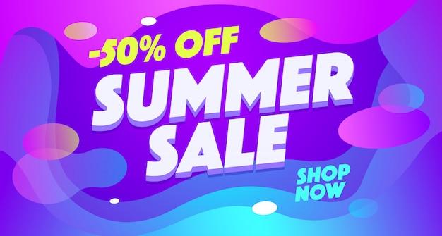 Lato sprzedaje szablon transparentu. sezonowa wyprzedaż, 50 procent zniżki, rabat, oferta specjalna.
