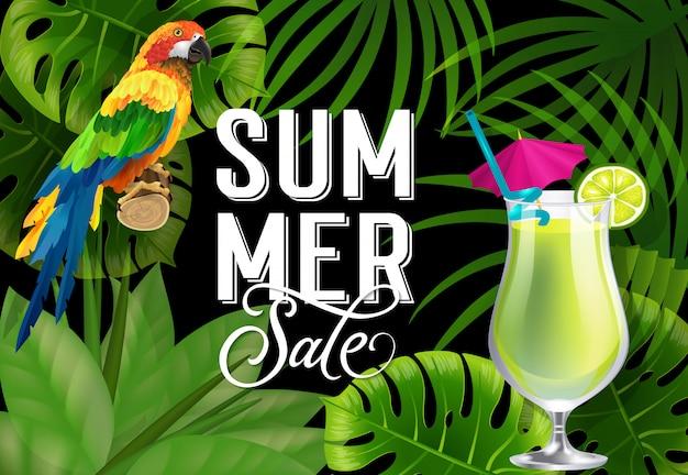 Lato sprzedaż napis z papugą i koktajl. letnia oferta lub reklama sprzedażowa