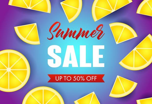 Lato sprzedaż napis z plasterkami cytryny