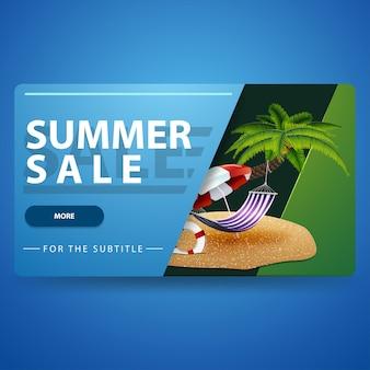 Lato sprzedaż, nowożytny błękitny 3d wolumetryczny sieć sztandar