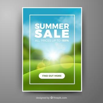 Lato sprzedaż okładka szablon z niewyraźne krajobraz