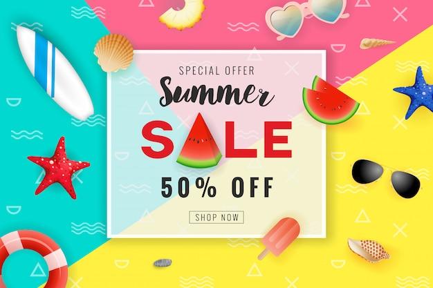 Lato sprzedaż promocja transparent tło. tło seascape