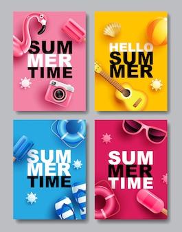 Lato sprzedaż, sztandaru układu projekt, kolorowy temat, szablonu projekt, ilustracja.