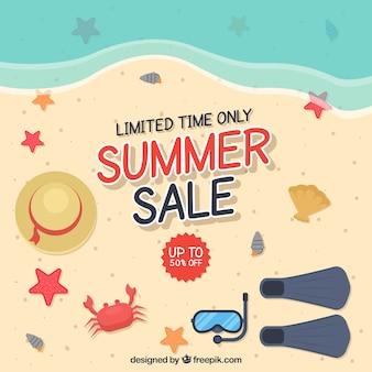 Lato sprzedaż tło z widokiem na plażę w stylu płaski