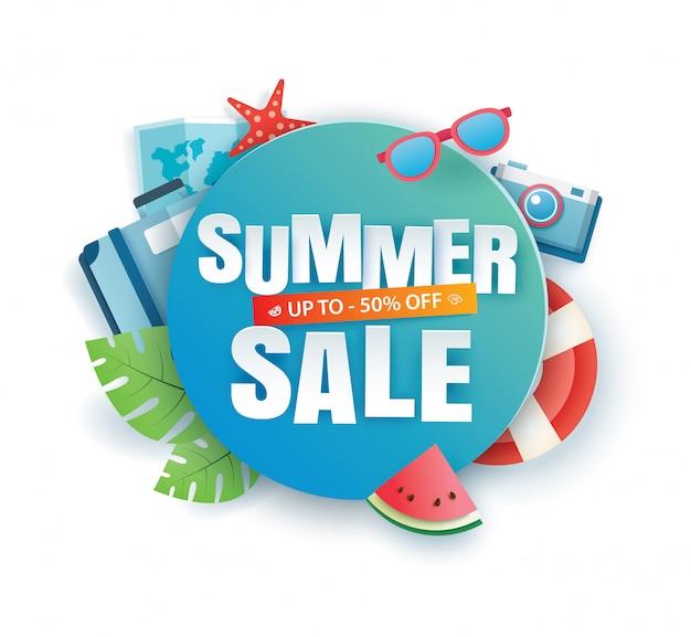 Lato sprzedaż transparent wyciąć szablon papieru. niebieski streszczenie geometryczne.