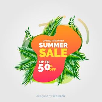 Lato sprzedaży cieczy kształty i tropikalny liść tło