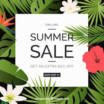 Lato sprzedaży kwiatów tle