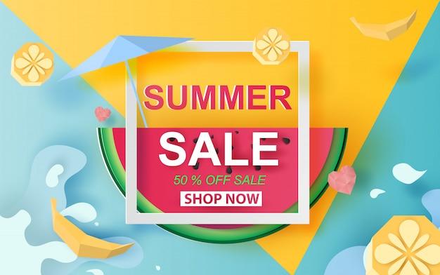 Lato sprzedaży sztandar z arbuzem.