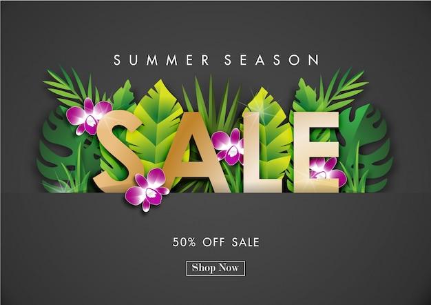 Lato sprzedaży tło z tropikalnym projekta wektorem