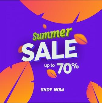 Lato sprzedaży wektorowy sztandar z liśćmi w nowożytnym stylu.