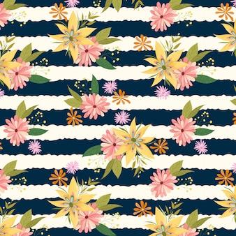 Lato świeżych kwiatów bezszwowy wzór