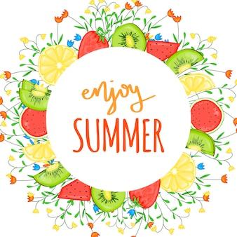 Lato szablon z owocami. styl kreskówki. ilustracja wektorowa