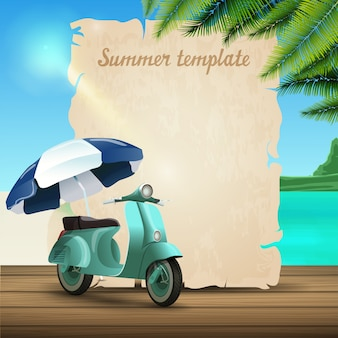 Lato sztandar szablon w postaci pergaminu na tle piękny seascape
