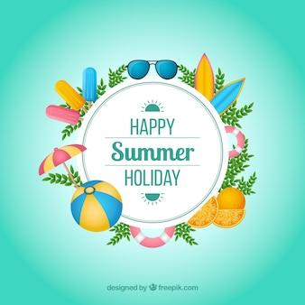 Lato tło z kolorowymi elementami