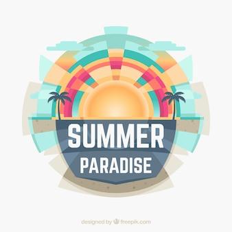 Lato tło z słońce i drzewkami palmowymi