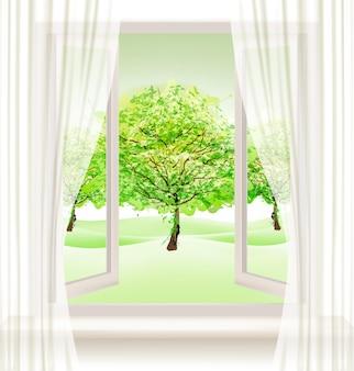 Lato tło z otwartym oknem i zielonymi drzewami. wektor.