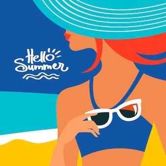 Lato tło z piękną sylwetką kobiety nad morzem. ilustracja wektorowa