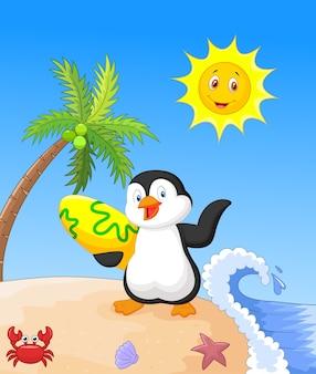 Lato tło z pingwinem
